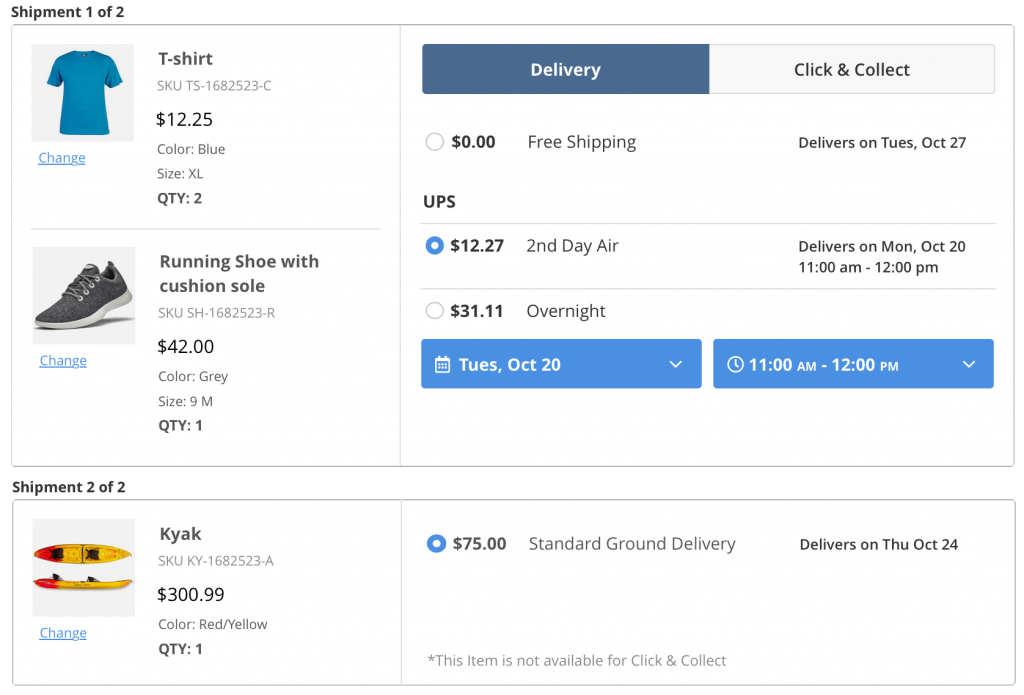 Enhanced Checkout's split checkout view