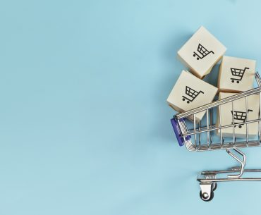 shopping cart with blue background about 2020 retail trends
