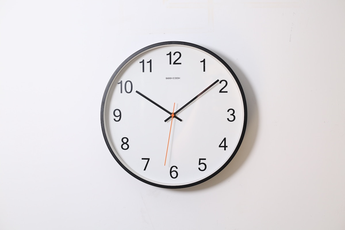 clock against wall to represent estimated delivery dates