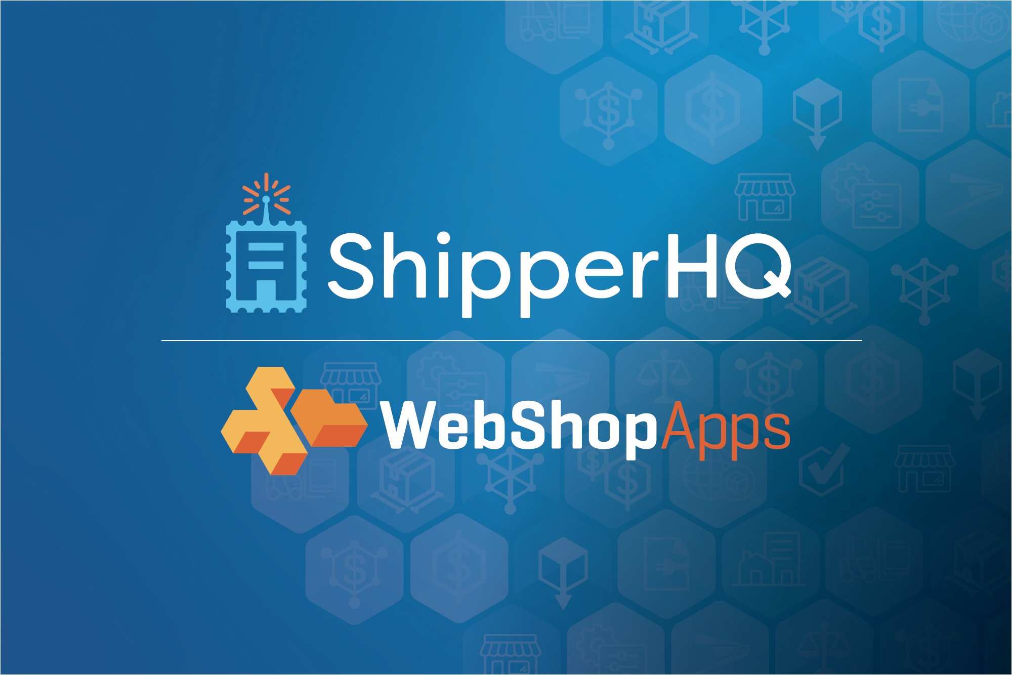 webshopapps logo and shipperhq logo on a blue background