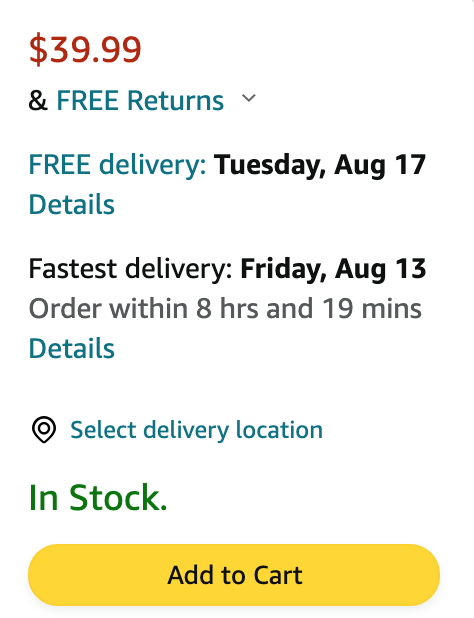 Amazon's shipping calculator on their product page